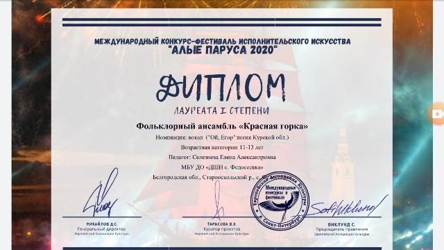 Международный конкурс – фестиваль исполнительского искусства «Алые паруса 2020», г. Санкт – Петербург (по видео).